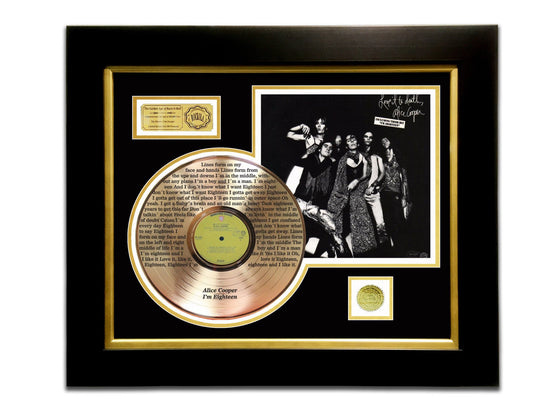 LIMITED EDITION ETCHED GOLD LP 'ALICE COOPER - LOVE IT TO DEATH' CUSTOM FRAME