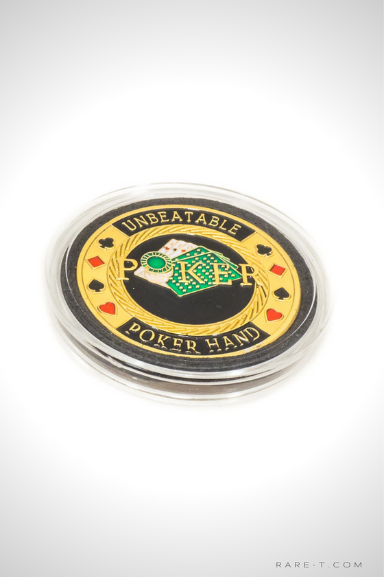 24K Gold plated 'UNBEATABLE-POKER CHIP CARD GUARD'