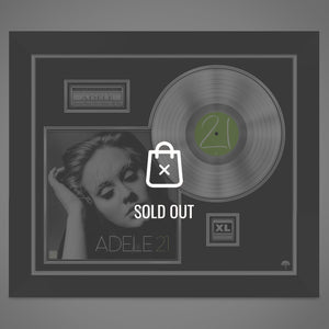 Adele '21' Hand-Signed 24K Platinum Plated Lp Record & LP Cover Custom Frame