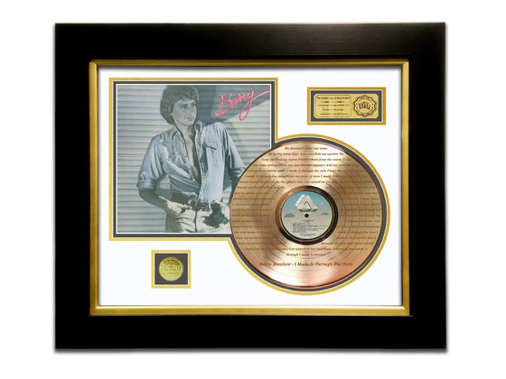 LIMITED EDITION ETCHED GOLD LP 'BARRY MANILOW - BARRY' CUSTOM FRAME