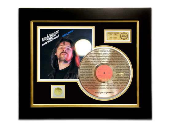 LIMITED EDITION ETCHED GOLD LP 'BOB SEGER - NIGHT MOVES' CUSTOM FRAME