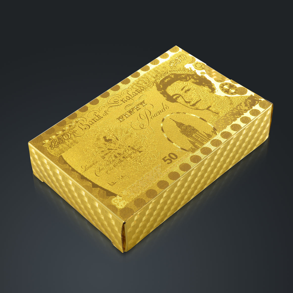 24 K GOLD PLATED PLAYING CARDS Gold Pounds $50 Pattern