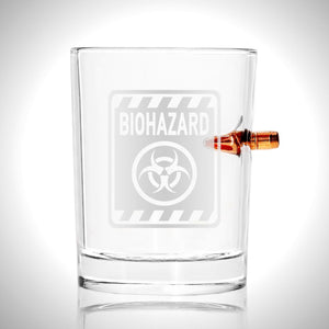 Biohazard Shot Glass - Handmade Biohazard Etched Rock Glass Shot Glass with Embedded Bullet
