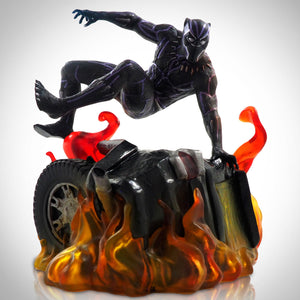 Black Panther Jumping Over Car Wreckage In Flames- Diamond Select Toys Marvel Select Gallery Statue