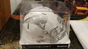 TOM BRADY - NEW ENGLAND PATRIOTS Hand Signed Mini Football ICE Alternate Helmet