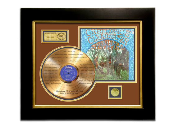 LIMITED EDITION ETCHED GOLD LP 'CREEDENCE CLEARWATER REVIVAL' CUSTOM FRAME
