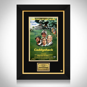 Caddyshack-Beckett Witnessed Signed Mini Poster By Michael O'Keefe, Cindy Morgan & Chevy Chase Frame