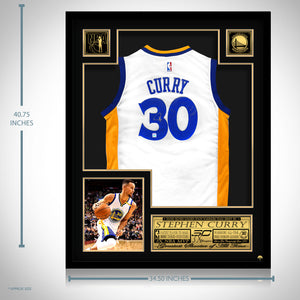Stephen Curry- Hand-Signed Golden State Warriors White Jersey By Stephen Curry Custom Frame