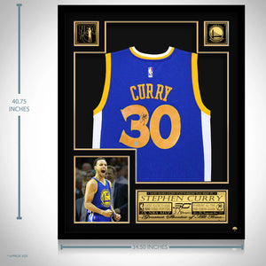 Stephen Curry- Golden State Warriors Hand-Signed Blue Jersey By Stephen Curry Custom Frame