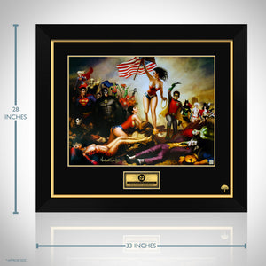 Dc- Battle Art Print Hand-Signed By Nathan Szerdy Custom Frame