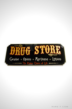 Traditional Wood Plank 'Gold Leaf Drug Store' Sign