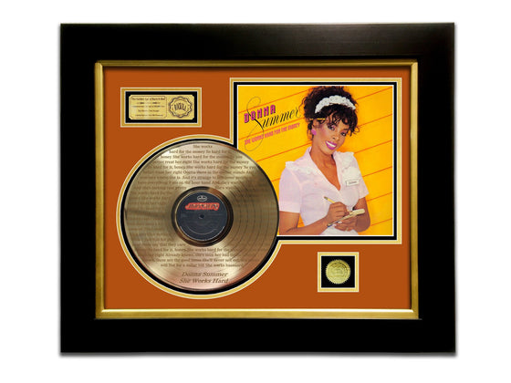 LIMITED EDITION ETCHED GOLD LP 'DONNA SUMMERS SHE WORKS HARD FOR THE MONEY' CUSTOM FRAME