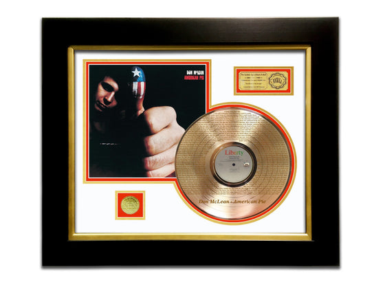 LIMITED EDITION ETCHED GOLD LP 'DON MCLEAN - AMERICAN PIE' CUSTOM FRAME
