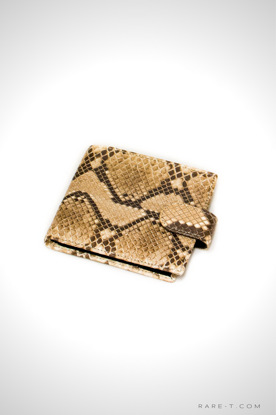 Authentic 'PYTHON-SNAKE SKIN' Bifold Wallet with Snap