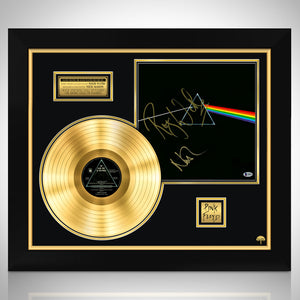 PINK FLOYD-Dark Side of the Moon Beckett Certified Signed Gold LP by Roger Waters & Nick Mason Frame