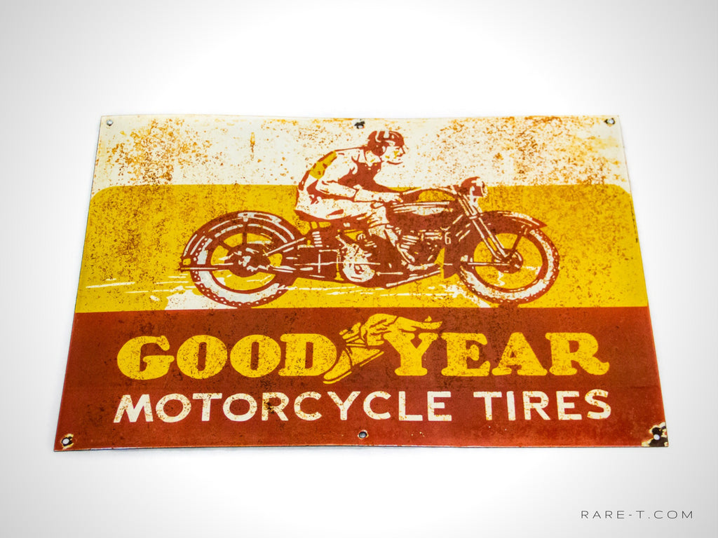 GOODYEAR MOTORCYCLE TIRES Dealership Sign - RARE-T