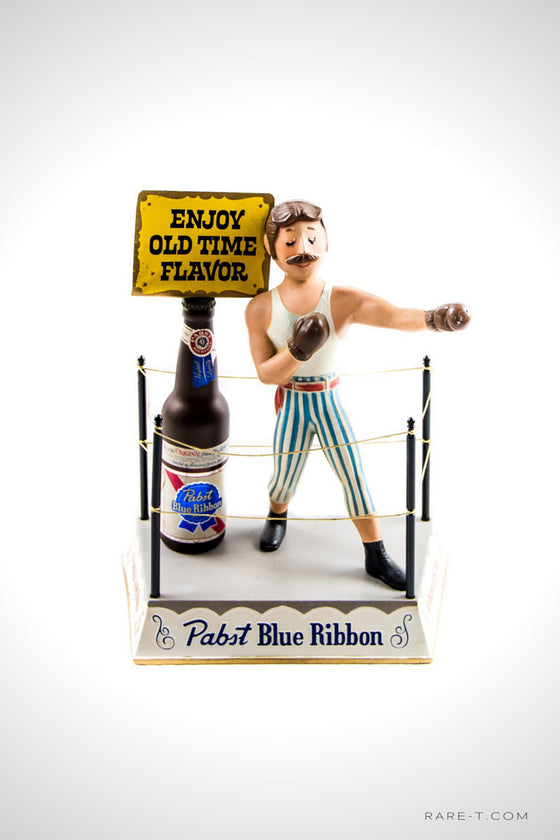 Vintage Cast-Iron 'PABST BLUE RIBBON-BOXER' Beer Bottle Bar-Back Display/Advertisement | RARE-T