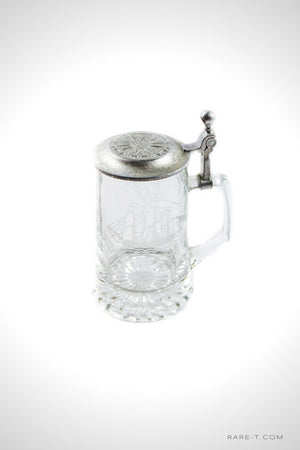 Vintage Etched Glass 'GRAND TURK 1786' Metal-Lidded Beer Stein | RARE-T