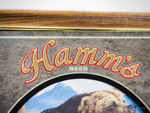 Vintage 1993 REVERSE PAINTED 'HAMM'S-GRIZZLY' Beer Bar Mirror/Advertisement | RARE-T