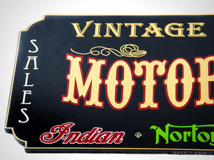 Traditional Wood Plank 'GOLD LEAF VINTAGE MOTORCYCLE' Dealership Sign | RARE-T