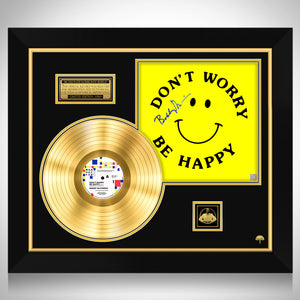 Bobby McFerrin Don't Worry Be Happy Limited Signature Edition Studio Licensed Gold LP Custom Frame