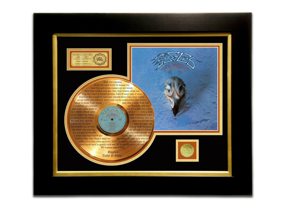 EAGLES - GREATEST HITS Limited Edition Etched Gold LP Record Rare-T Exclusive Custom Frame