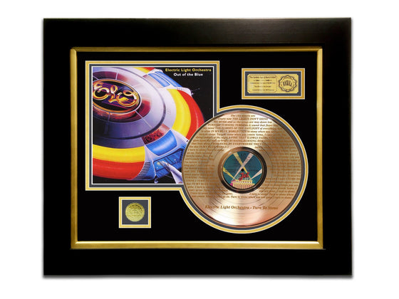 LIMITED EDITION ETCHED GOLD LP 'ELECTRIC LIGHT ORCHESTRA - OUT OF THE BLUE' CUSTOM FRAME