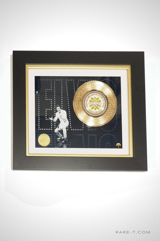 RARE-T Exclusive Limited Edition GOLD 45 'ELVIS PRESLEY - LOVE ME TENDER LYRICS' Custom Frame