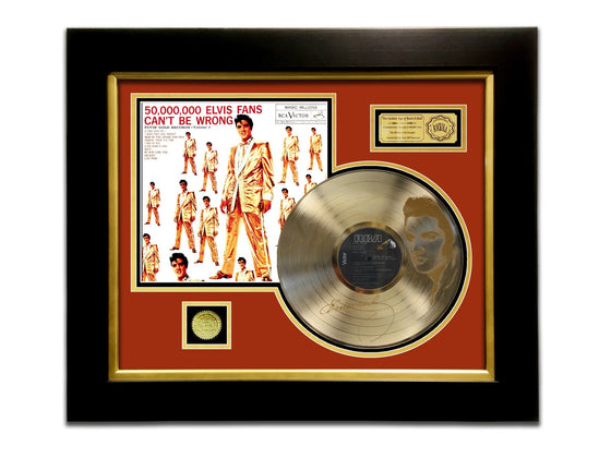 LIMITED EDITION ETCHED GOLD LP 'ELVIS PRESLEY - 50,000,000 FANES CAN'T BE WRONG' CUSTOM FRAME