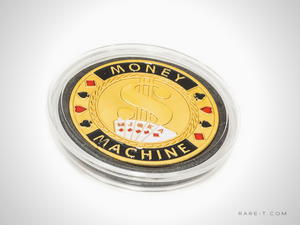 24K Gold plated 'MONEY MACHINE-POKER CHIP CARD GUARD'
