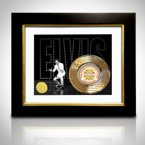 RARE-T Exclusive Limited Edition GOLD 45 'ELVIS PRESLEY - BURNING LOVE LYRICS' Custom Frame