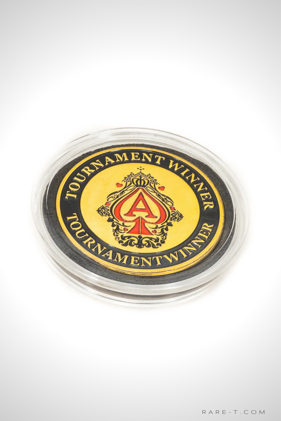 Gold plated 'TOURNAMENT WINNER-POKER CHIP CARD GUARD'