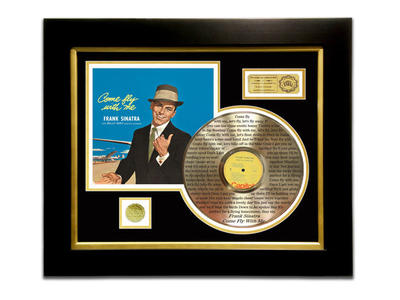 LIMITED EDITION ETCHED GOLD LP 'FRANK SINATRA - COME FLY WITH ME' CUSTOM FRAME