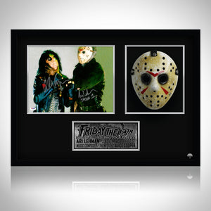 Friday The 13Th- 'Jason 1' Psa/Dna Witnessed Hand-Signed Photo With Mask By Alice Cooper & Ari Lehman Custom Frame