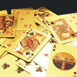 24K Gold Plated Playing Cards - Skull Hat Pattern Playing Cards With Elegant Display Box