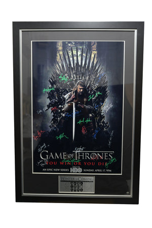 Game Of Thrones Poster - Signed By 28 Cast Members Rare-T Exclusive Custom Frame****