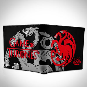 Game of Thrones - Targaryen Fire and Blood - 3 Headed Dragon Embossed Wallet