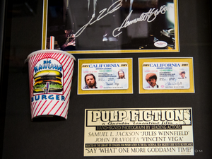 Pulp Fiction Kahuna Burger scene with Kahuna drinking cup prop and driver's license Samuel L. Jackson John Travolta hand signed display box frame license close up
