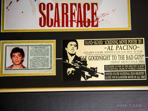Scarface poster with green card Al Pacino hand signed photo gallery frame plate