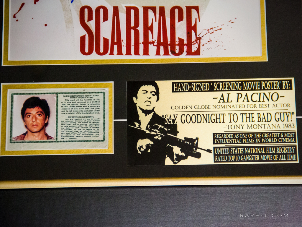 Scarface Hand Signed By Al Pacino Rare T Exclusive Custom Frame