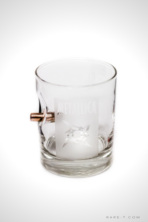 Handmade 'BULLET - METALLICA' Etched Rock Glass