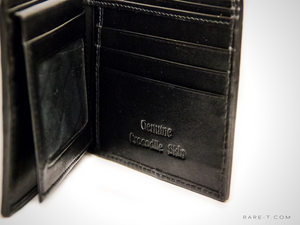 Authentic 'CROCODILE BACKBONE' Black Bifold Wallet