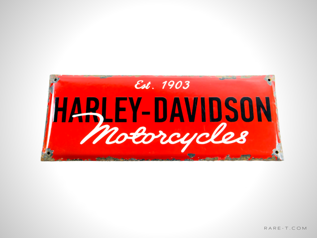 HARYLEY-DAVIDSON MOTORCYCLES Red Enamel Dealership SignHARYLEY-DAVIDSON MOTORCYCLES Red Enamel Dealership Sign | RARE-T