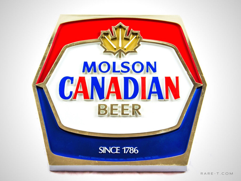 Original Vintage Hard Plastic '1786 MOLSON-CANADIAN BEER' Bar Sign/Advertisement | RARE-T