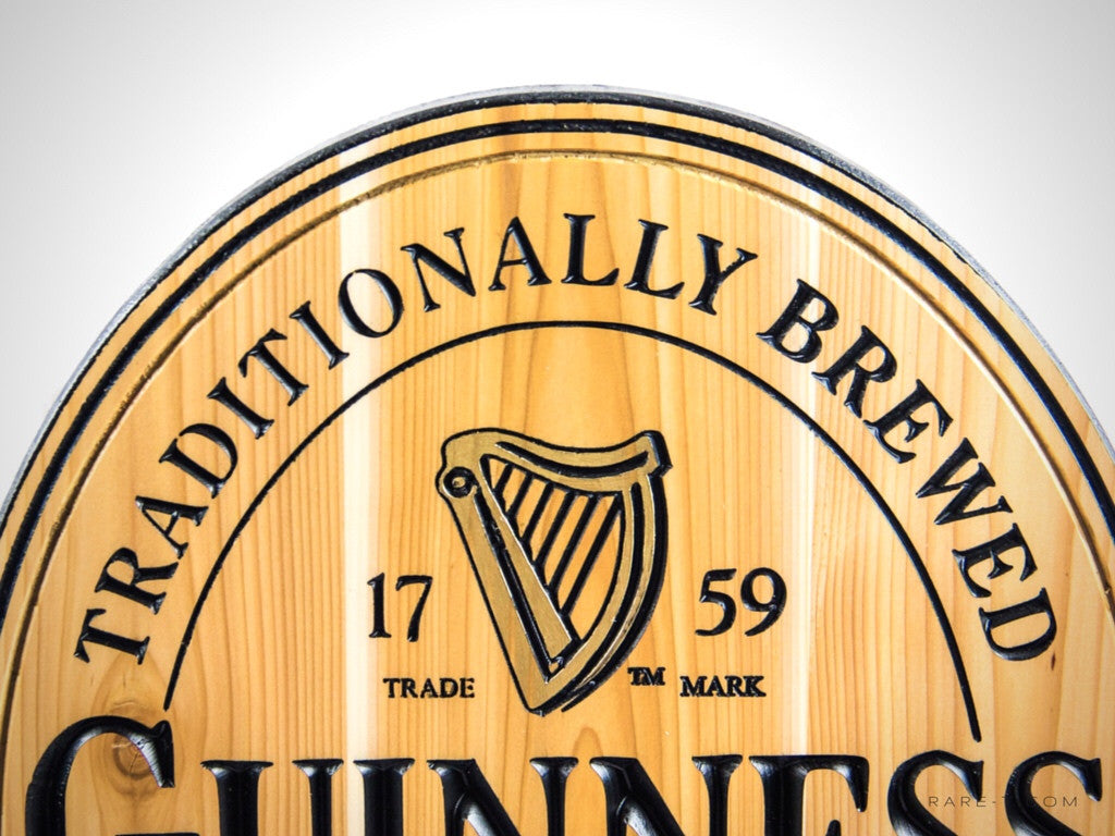 1759 GUINNESS ORIGINAL - Carved Wood Dublin Ireland Bar Sign | RARE-T