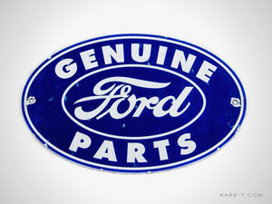 Distressed Patina Porcelain/Enamel 'FORD-GENUINE PARTS' Dealership Sign | RARE-T