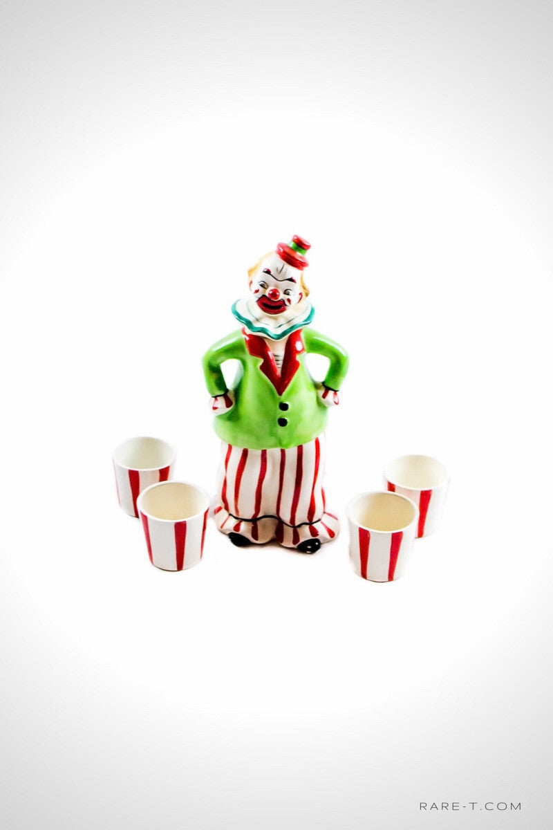 Vintage 'CIRCUS CLOWN & 4 SHOT GLASSES' Decanter | RARE-T