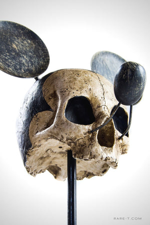 Handcrafted 'RIP Mickey-Skull' Statue/Stand | RARE-T