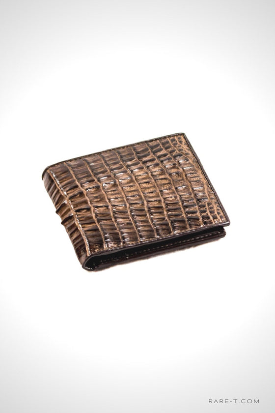 Authentic Brown CROCODILE TAIL Bifold Wallet | RARE-T