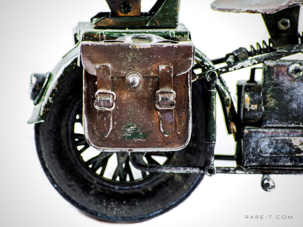 Vintage Handmade '1940 WLA-MILITARY HARLEY DAVIDSON' Metal Toy Motorcycle | RARE-T